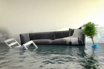 Flooded furniture damage